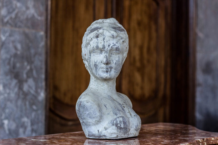 Close-up of bust on wooden table
