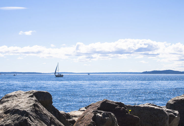 Sea Water Sky Nautical Vessel Beauty In Nature Rock Sailboat Rock - Object Cloud - Sky Scenics - Nature Day Tranquil Scene Horizon No People Tranquility Yacht