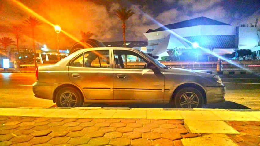 Bibliotheca Alexandrina Car City Hyundai Illuminated Light Neon Night No People Outdoors Street Light Transportation Verna