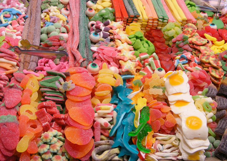 Full frame shot of various colorful candies at market
