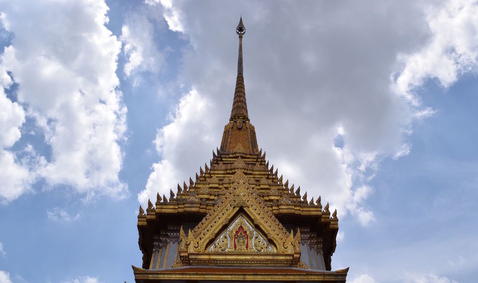Temple Ancient Architectural Feature Architecture Building Exterior Built Structure Cloud - Sky Cloudy Culture Famous Place Gilded High Section History Low Angle View Outdoors Pagoda Place Of Worship Religion Sky Spire  Spirituality Steeple Temple Temple - Building Tourism