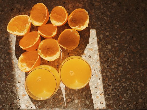 Fresh squeezed orange juice for healthy morning start on a sunny day. Seen from above. Citrus Fruit Delicious Drink Drinking Drinks Fresh Freshness Fruit Group Health Juice Liquid Natural Orange Orange - Fruit Orange Color Oranges Refreshment Round SLICE Slices Squeeze Texture Tropical Climate Vegetarian