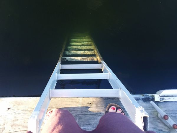 Water reflection Real People Personal Perspective Low Section Human Leg One Person Human Body Part Leisure Activity Human Foot Lifestyles Standing Shoe Men Day Women Indoors  Close-up Adult People lake Ladder Ladder Into The Lake Northern Wisconsin