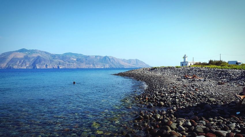 Sea Water Beach Sky Clear Sky Outdoors Day Blue No People Lipari Island Salina Island Sicily Eolie Islands Horizon Over Water Nature Lost In The Landscape