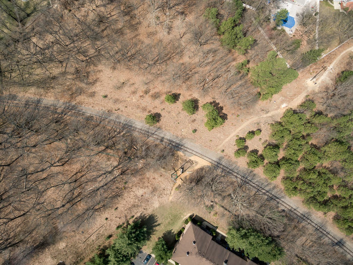 Aerial view of railroad tracks in suburban new jersey