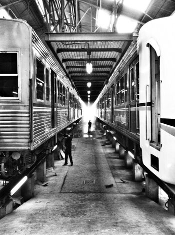 maintenance area Keretaapi Blackwhite Public Transportation Taking Photos