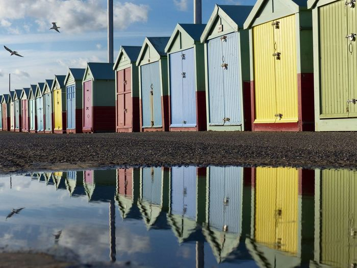 Birds flying above beach huts on Hove seafront - October 2016. Beach Hut Beach Huts Brighton East Sussex England, UK England🇬🇧 Hove Puddle Reflections Puddles Reflections Reflections In The Water Seagull Seagulls In The City