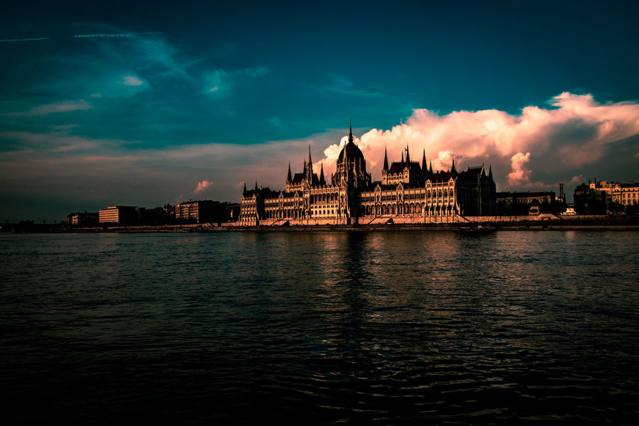 Architecture Building Exterior Built Structure City Cloud - Sky Dusk Nature No People Outdoors Parliament Of Budapest River Sky Sunset Transportation Travel Travel Destinations Water Waterfront