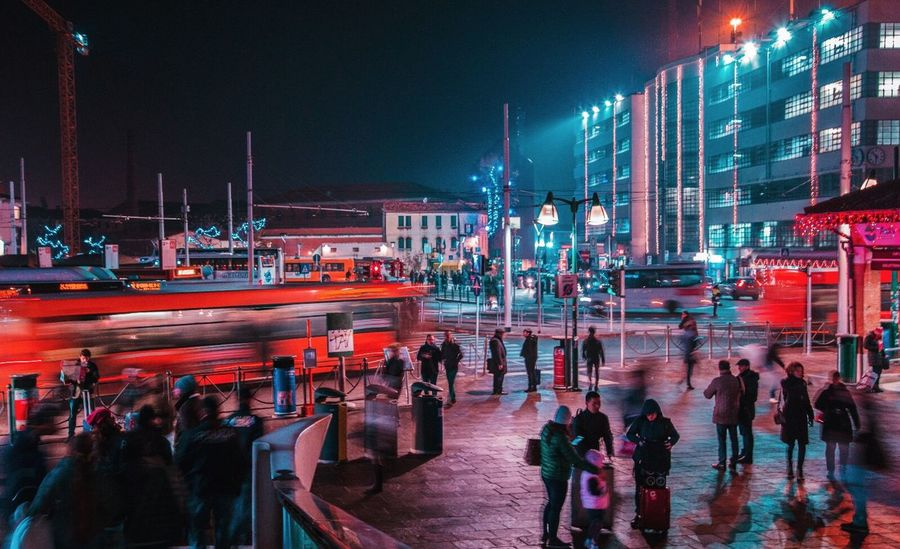 Night Illuminated City Architecture Building Exterior Built Structure Sky City Life Outdoors Large Group Of People Nautical Vessel Neon Water Cityscape People Adult Long Exposure Longexposure Italy FlashingLights Venezia Citylife City Life Nightphotography Night Lights First Eyeem Photo