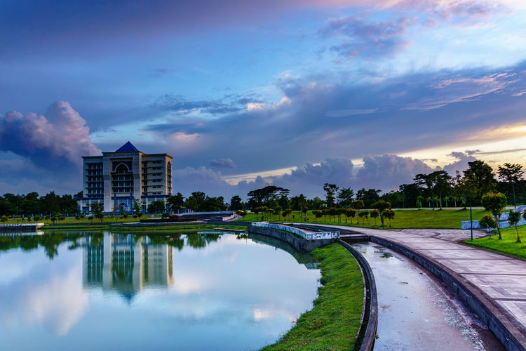 KUCHING, SARAWAK -JAN 3,2019 : Royal Malaysian Customs Department in Kuching. Cloud - Sky Built Structure Sky Architecture Water Building Exterior Reflection Lake Nature Building Plant Tree City Outdoors No People Beauty In Nature Sunset Waterfront Travel Luxury
