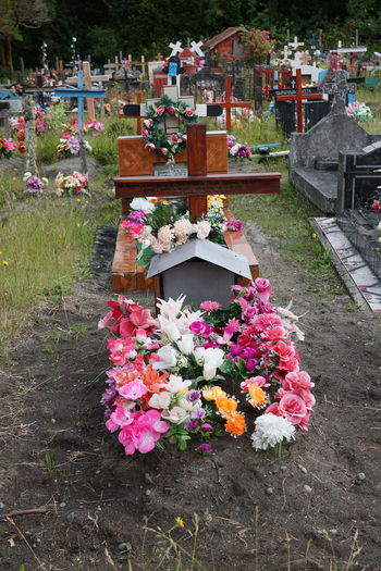 Flowers on table at cemetery