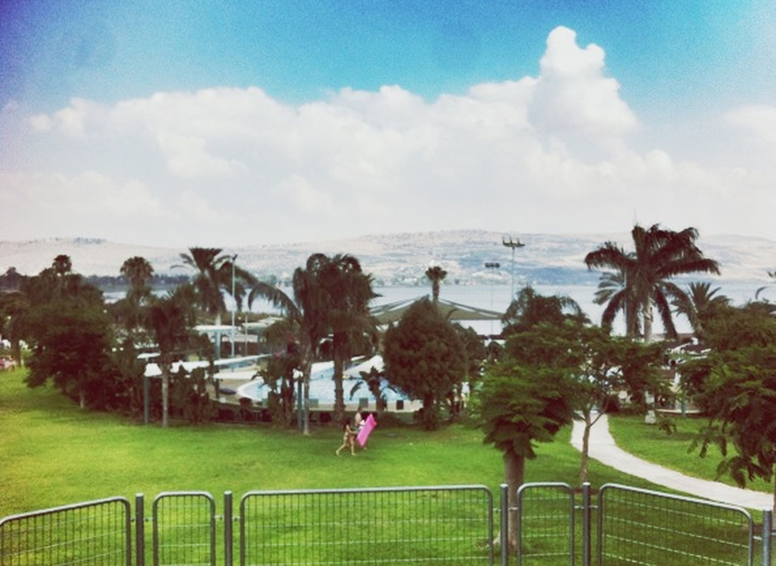 sky, cloud - sky, sea, tree, cloudy, palm tree, water, grass, cloud, nature, beach, tranquility, growth, beauty in nature, incidental people, day, tranquil scene, scenics, park - man made space, outdoors