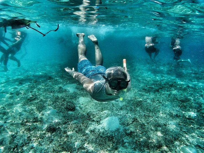 Portrait of man snorkeling in sea