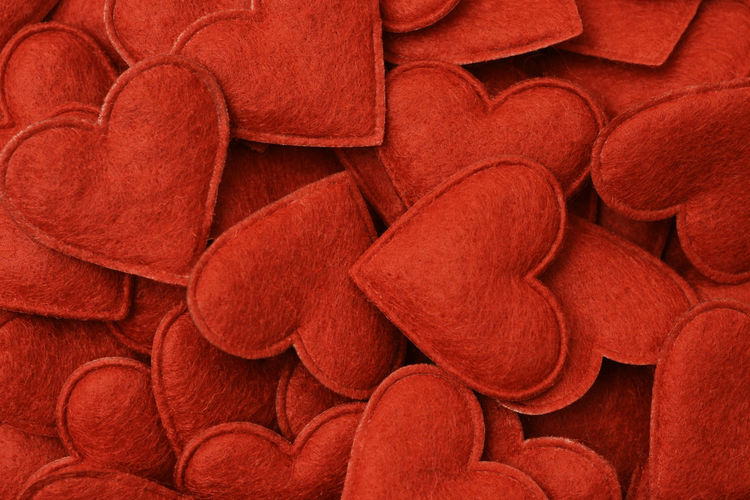 Full Frame Shot Of Artificial Red Hearts