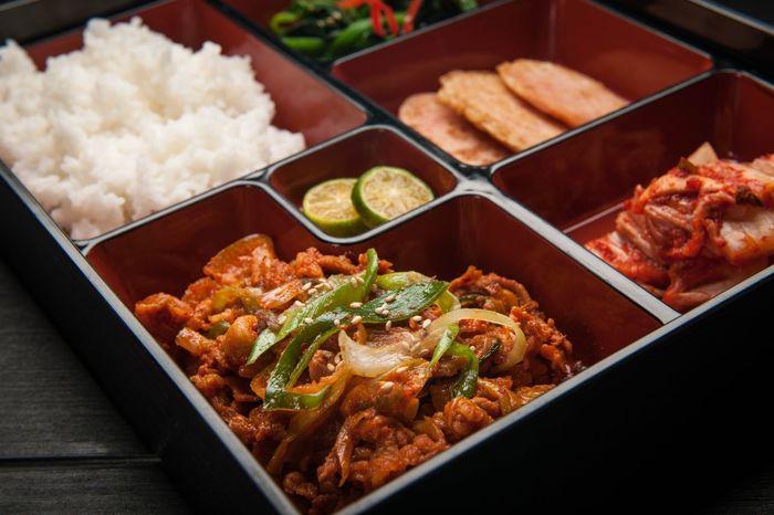 Korean cuisine, pork bulgogi Asian Foods Bento Set Meal Korean Korean Culture Korean Food Food And Drink Food Ready-to-eat Indoors  Serving Size High Angle View Table