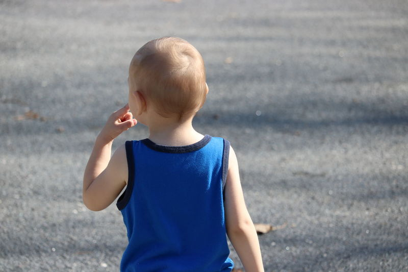 Alone Back Blue Blue T-shirt Boy Child Childhood Day Dont Look Back Finger Going Forward  Kid Light Hair Looking Forward Nature On A Road One Person Outdoors Outside Person Precious Real Person Seeing Goal Sunny Day Toddler