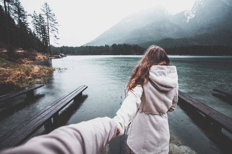 Adult Adults Only Beauty In Nature Couple Day Girl Hand Hand Holding Hintersee Holding Holding Hands Lake Lake View Lakeshore Lakeside Lakeview Mountain Nature Outdoor Photography Outdoors People Pier Tree Water Woman Resist Resist The Great Outdoors - 2017 EyeEm Awards