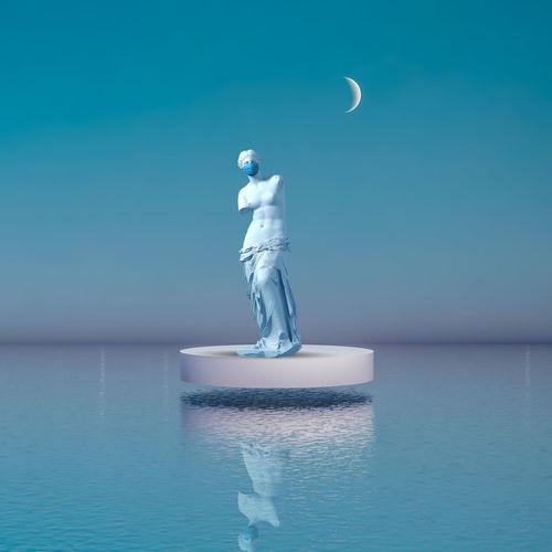 Digital composite image of sea against blue sky
