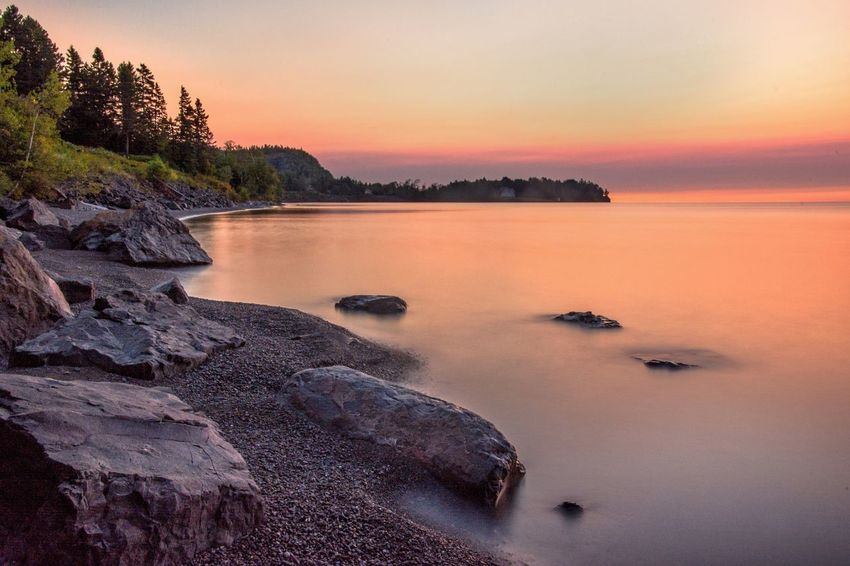 Perfect weather on the North Shore Sunset Scenics Beauty In Nature Nature Tranquil Scene Water Tranquility Sky Rock - Object No People Sea Outdoors Tree Clear Sky Day Malephotographerofthemonth Minnesota Streamzoofamily Beauty In Nature Northshore Long Exposure Slowshutter