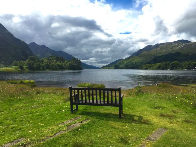 Breathtaking Quiet Moments Scotland Scottish Highlands Clouds And Sky Beautiful Sunshine Idyllic Scenery Relaxing Bench Lakeview Cloud - Sky Sky Mountain Water Beauty In Nature Tranquil Scene Nature Tranquility Mountain Range Scenics - Nature No People Non-urban Scene Green Color Grass Seat Plant Lake Day Idyllic