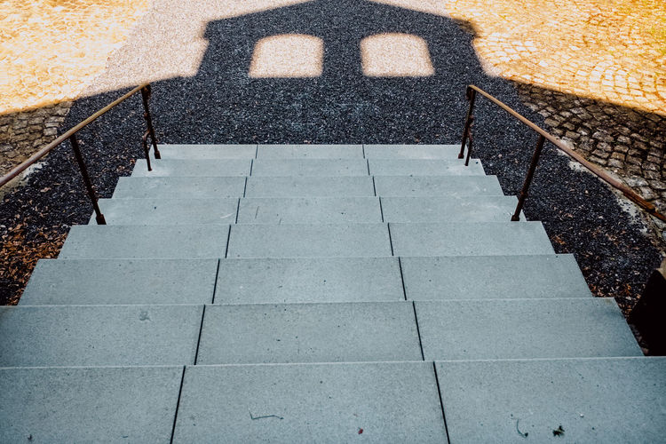 Architecture Built Structure City Concrete Day Diminishing Perspective Direction Focus On Shadow Footpath High Angle View Nature No People Outdoors Pattern Paving Stone Railing Solid Staircase Steps And Staircases Stone Stone Material Street The Way Forward