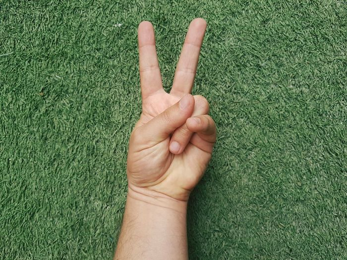Cropped hand gesturing peace sign over field