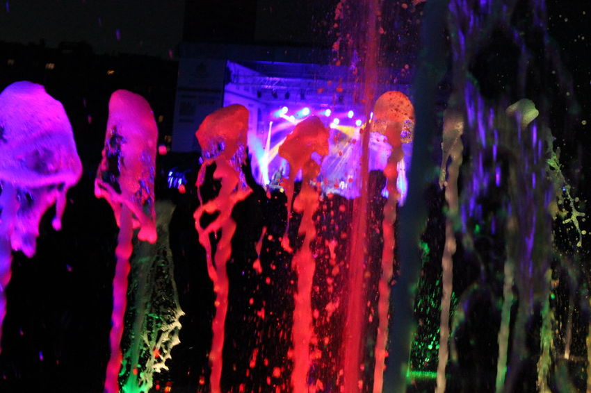 Illuminated Close-up Pink Color Night Red Vibrant Color Nightlife Multi Colored Water Watercolor Party Outdoors Electric Light Fountain Decoration Dark Lighting Equipment Rainbow