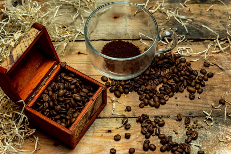 coffee in the morning Drink Ground Coffee Table High Angle View Close-up Food And Drink Coffee Bean Roasted Coffee Bean Caffeine Coffee Crop Ground - Culinary Frothy Drink Black Coffee
