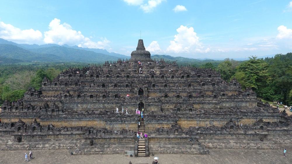 Aerial view of Borobudur Temple from near site Religion Built Structure Architecture Place Of Worship Travel Destinations Spirituality History Ancient Tourism Temple Borobudur Borobudur Temple Java Central Java INDONESIA EyeEmNewHere