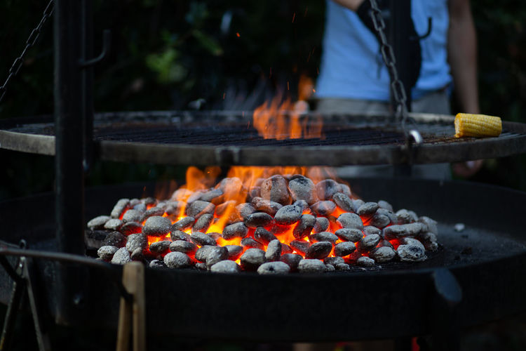 Barbecue Barbecue Grill Burning Coal Day Fire Fire - Natural Phenomenon Flame Focus On Foreground Food Food And Drink Freshness Glowing Heat - Temperature Meat Nature No People Orange Color Outdoors Preparation  Preparing Food Temptation