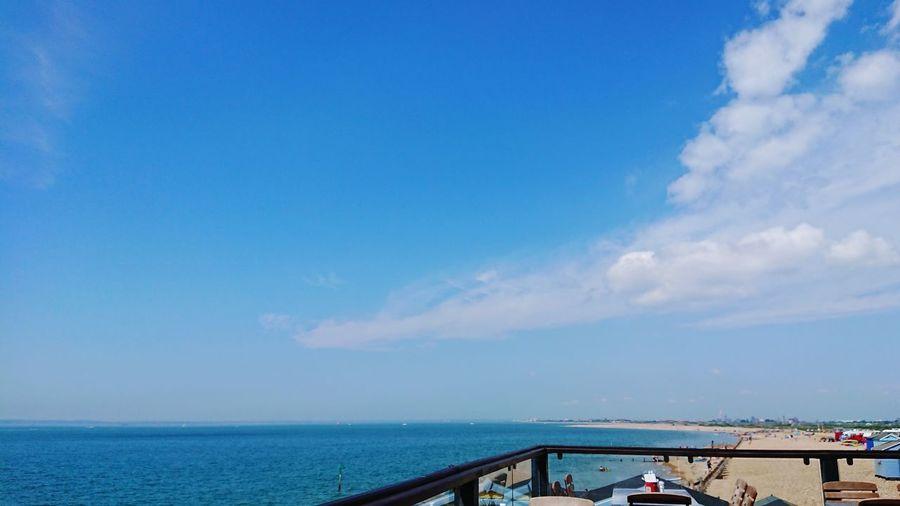 Beach Bar Hayling Island  Water Sea Beach Blue Summer Sky Horizon Over Water Cloud - Sky
