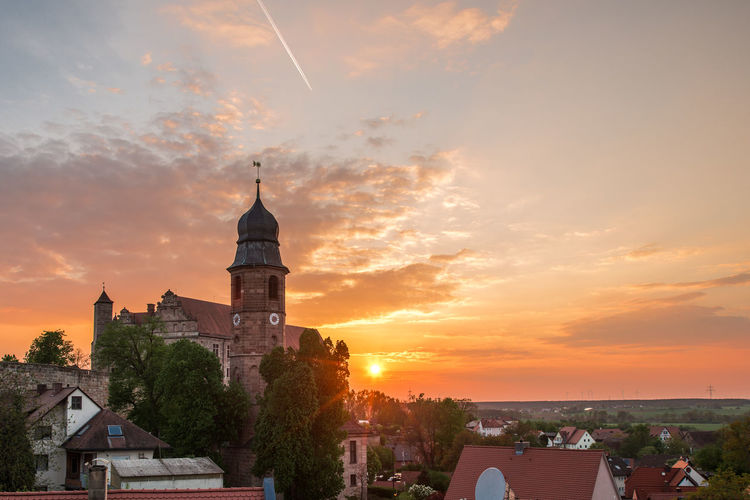 City Cityscape Urban Skyline Sunset Roof History Panoramic Silhouette Dusk Clock Tower Bell Tower - Tower