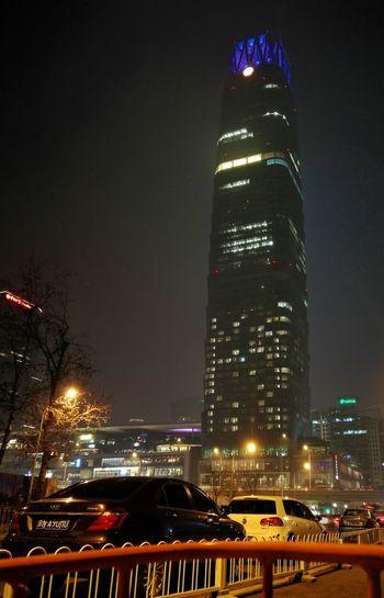 Modern Workplace Culture Night Illuminated Skyscraper Architecture City Building Exterior Cityscape