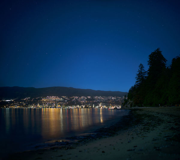 Scenic view of sea against clear blue sky at night