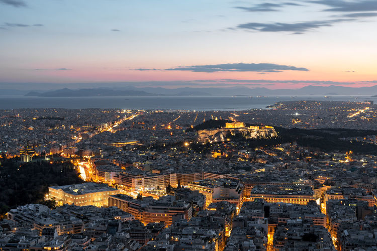 Sunset over Athens, Greece Acropolis, Athens Architecture City Cityscape Tourist Ancient Greece Ancient Greek Architecture And Design Athens City Lights Concrete Concrete Jungle Europe Greece High Angle View Sky Sunrise Sunset
