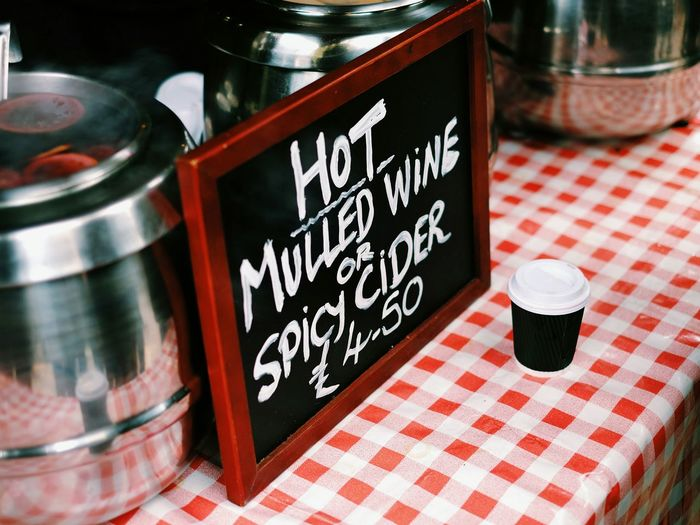 Christmas in London. Food And Drink Red No People Freshness Close-up Day Christmas Time Christmas Christmas Around The World Christmas Market Cider Mulled Wine Postcode Postcards