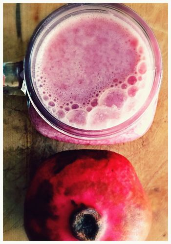 Breakfast Drink Fruit Healthy Eating Freshness Food And Drink Red Pink Color Close-up Refreshment Healthy Lifestyle No People Indoors  Vitamins IPhoneography Handmade For You Close Up Red Food And Drink Lieblingsteil Pomegranate Bubbles Autumn Colors Glass Mug Freshly Squeezed Visual Feast