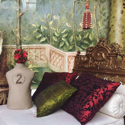 Textures And Patterns Bed Pillow Green Red Number Two Number color palette Antique Indoors  No People Flower Close-up Day