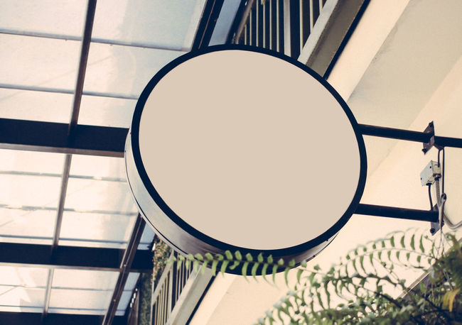 Circle Logo Design Shop Signs Shopping Sign Signage Architecture Blank Board Close-up Day Empty Indoors  Low Angle View No People Outdoors Shop Display Shop Front Shop Window Signboard