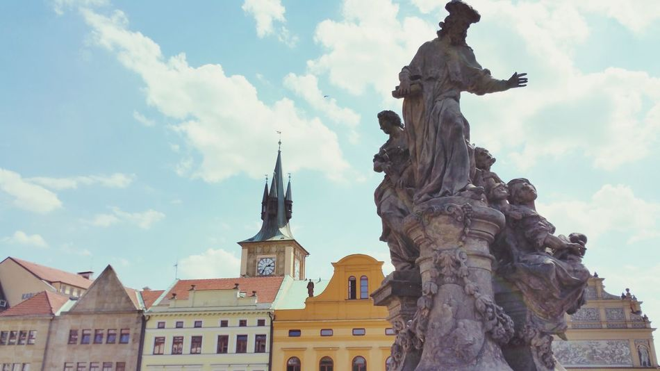 Architectural Feature Architectural Detail Sculpture In The City Streetphotography EyeEmNewHere Architecture_collection Built Structure Architecture City Street City View  Building Exterior Prague Czech Republic Houses In A Row Tower Bridge View Prague Bridge Windows_aroundtheworld Clock Tower Tower Clock Your Ticket To Europe The Week On EyeEm