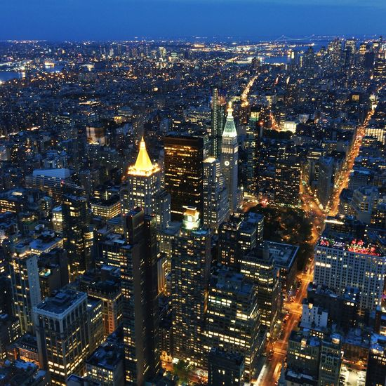 New York At Night Sea Of Lights New York Skyline  New York From Above 43 Golden Moments