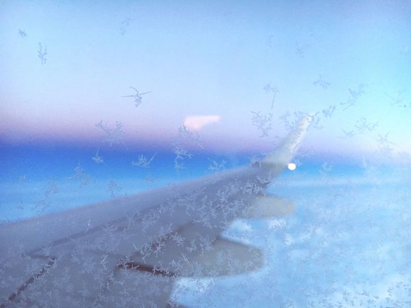 Over The Rainbow In The Sky From An Airplane Window Frost Sunset Universe High In The Sky Traveling Hello World Taking Photos