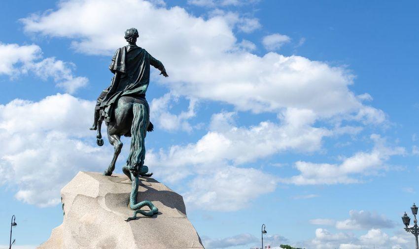 The bronze horseman statue of peter the great in saint petersburg
