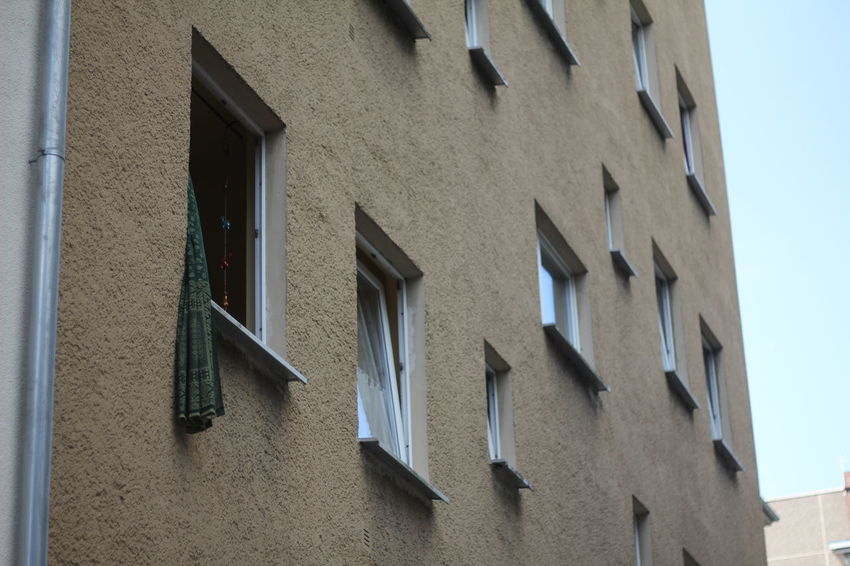 Architectural Feature Architecture Building Building Exterior Built Structure City Life Close-up Day Ghetto High Section In A Row Low Angle View No People Old Open Window Outdoors Repetition Sky Street Tall Window Windows