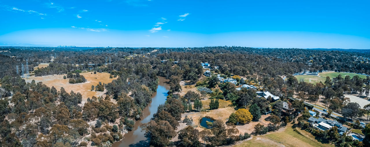 Aerial View Aerial Australia Australian Landscape Panorama Panoramic Drone Photography Scenics Beautiful Landscape Yarra River, Melbourne. Yarra River Building Exterior Architecture Sky Blue City Built Structure Nature Cityscape Day Environment Tree High Angle View Scenics - Nature Plant Residential District Building Beauty In Nature No People Outdoors TOWNSCAPE