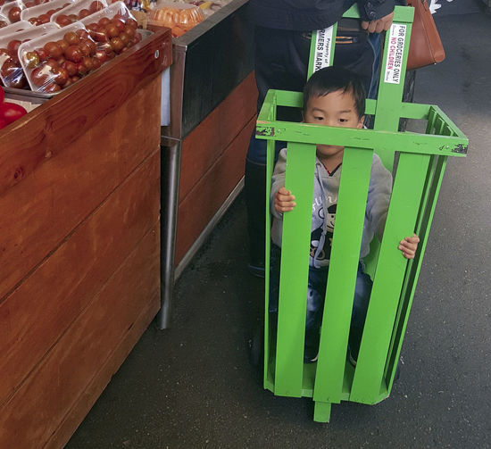 Farmers Market Fruit And Vegetable Market Fun Ride Ride Along Riding In A Wooden Cart Shopping Shopping With Mom And Dad Young Boy