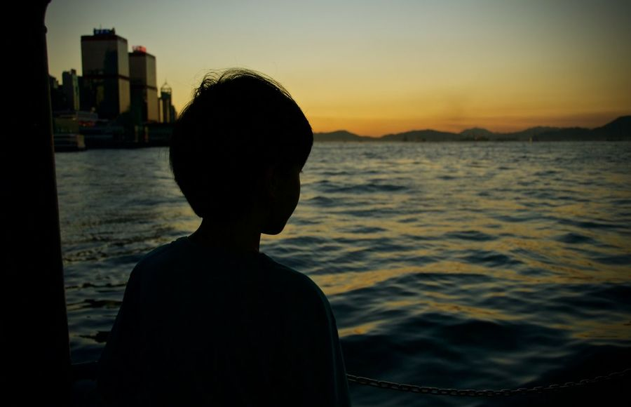 Child Hong Kong Portrait Scenics Silhouette Silhouette Sunset Victoria Harbour Water 43 Golden Moments Color Of Life Color Of Life! Colour Of Life