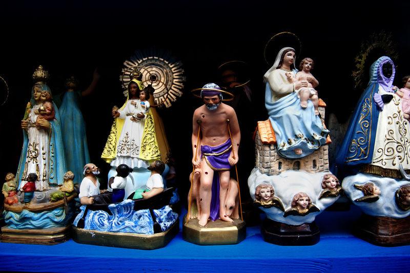 Religious figures in shop window, Madrid, Spain. Belief Catholicism Faith Figurine  Horizontal Madrid Mary No People Religion Religious Figures Religious Icons Representations Saints SPAIN Tourism Travel Virginia