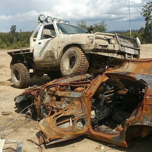 Destroyed Nissan Patrol  Flex 4wding
