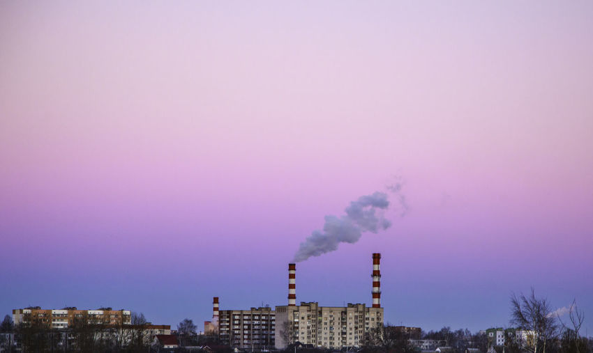 Air Pollution Building Exterior Built Structure Chimney Clear Sky Dsk Industry No People Sky Smoke - Physical Structure Smoke Stack Vitebsk Vitebsk,Belarus The Graphic City Mobility In Mega Cities Colour Your Horizn 10